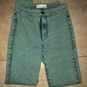 High waist green jeans